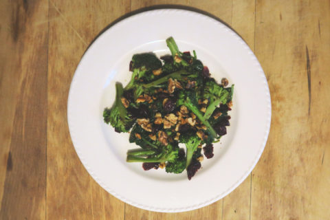 Broccoli and Spinach with Walnuts and Dried Cranberries
